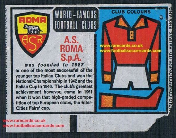 1970 Anglo Gum waxy paper insert World Famous Football Clubs A.S. Roma